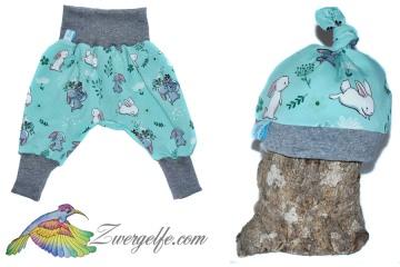 Baby oder Kinder Set Pumphose Mütze (Beanie oder Knotenmütze) Hase, Kaninchen, Häschen, türkis