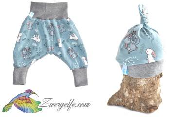Baby oder Kinder Set Pumphose Mütze (Beanie oder Knotenmütze) Hase, Kaninchen, Häschen, rauchblau