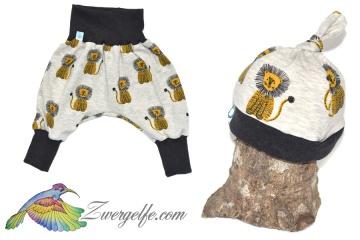 Baby oder Kinder Set Pumphose Mütze (Beanie oder Knotenmütze) Löwen, beige