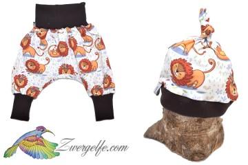 Baby oder Kinder Set Pumphose Mütze (Beanie oder Knotenmütze) Löwen
