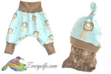 Baby oder Kinder Set Pumphose Mütze (Beanie oder Knotenmütze) Löwenjunges