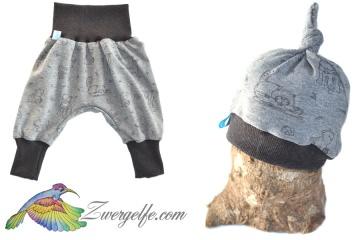 Baby oder Kinder Set Pumphose Mütze (Beanie oder Knotenmütze) Waldtiere