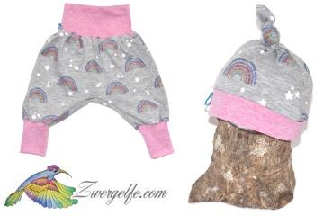Baby oder Kinder Set Pumphose Mütze (Beanie oder Knotenmütze) Regenbogen