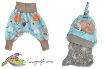 Baby oder Kinder Set Pumphose Mütze (Beanie oder Knotenmütze) Waldtiere, Reh, Igel, Fuchs, Hase