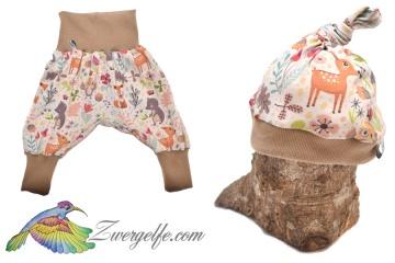 Baby oder Kinder Set Pumphose Mütze (Beanie oder Knotenmütze) Waldtiere, Reh, Igel, Bär, Eule