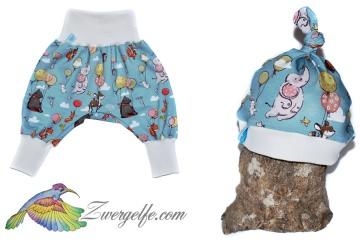 Baby oder Kinder Set Pumphose Mütze (Beanie oder Knotenmütze) Luftballons, Tiere