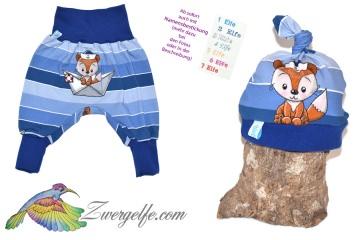 Baby oder Kinder Set Pumphose Mütze (Beanie oder Knotenmütze) Fuchs Matrose