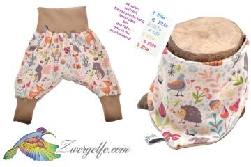 Baby oder Kinder Set Pumphose Wendehalstuch Waldtiere, Reh, Igel, Bär, Eule