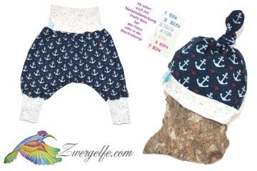 Baby oder Kinder Set Pumphose Mütze (Knoten oder Beanie) Anker Herzen maritim