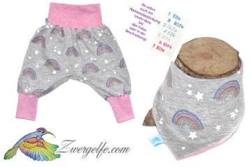 Baby oder Kinder Set Pumphose Wendehalstuch Regenbogen