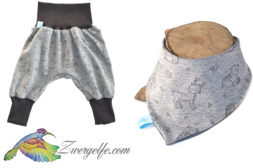 Baby oder Kinder Set Pumphose Wendehalstuch Waldtiere