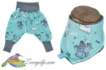 Baby oder Kinder Set Pumphose Wendehalstuch Hase, Kaninchen, Häschen, türkis