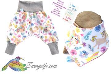 Baby oder Kinder Set Pumphose Wendehalstuch Einhörner, Einhorn, Blumen