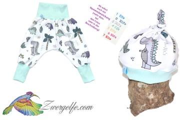 Baby oder Kinder Set Pumphose Mütze (Beanie oder Knotenmütze) Dinos, Dino, Dinosaurier