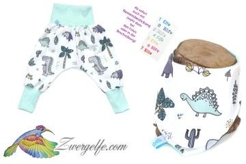 Baby oder Kinder Set Pumphose Wendehalstuch Dinos, Dino, Dinosaurier