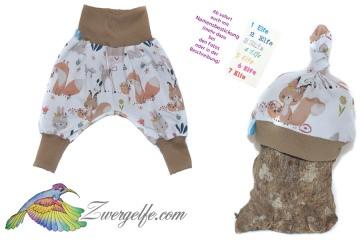 Baby oder Kinder Set Pumphose Mütze (Beanie oder Knotenmütze) Waldtiere, Blumen, Fuchs, Hase, Reh, Eichhörnchen