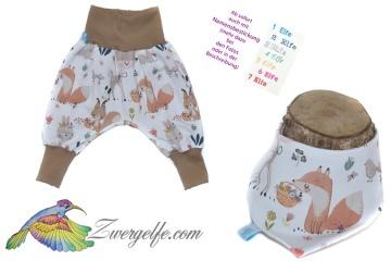 Baby oder Kinder Set Pumphose Wendehalstuch Waldtiere, Blumen, Fuchs, Hase, Reh, Eichhörnchen