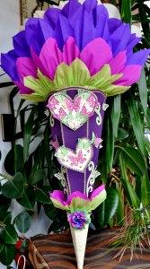 mit viel Hingabe und Liebe zum Detail kreierte Schultüte Herz Schmetterling