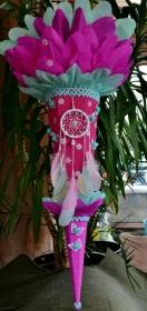 120 cm Schultüte Traumfänger für Mädchen Zuckertüte Schmetterling pink türkis