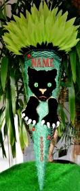 120 cm Schultüte Panther Zuckertüte Rohling für Jungs Puma Geschenk grün Fell  - Handarbeit kaufen
