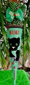 Schultüte Panther Zuckertüte Rohling für Jungs Puma Geschenk grün Fell rund - Handarbeit kaufen