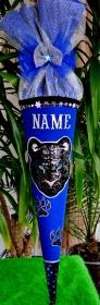 Schultüte Panther Zuckertüte Rohling für Jungs Puma Geschenk blau rund