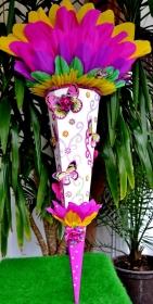 120 cm Schultüte Schmetterling   Zuckertüte Blumen  für Mädchen  - Handarbeit kaufen