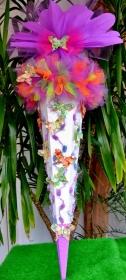 120 cm Schultüte Schmetterling   Zuckertüte Blumen  für Mädchen lila weiß  - Handarbeit kaufen