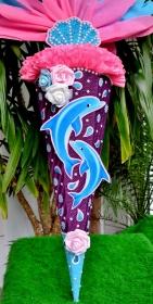 120 cm Schultüte Delfin Delphin Zuckertüte für Mädchen Muscheln - Handarbeit kaufen