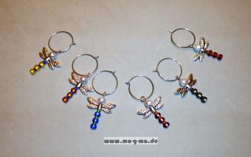 Glasmarkierer mit stilvoller, farbiger Libelle 6er Set
