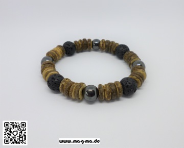 Armband aus Kokosnuss-, Lava- und Hämatitperlen, Stretch - kaufen