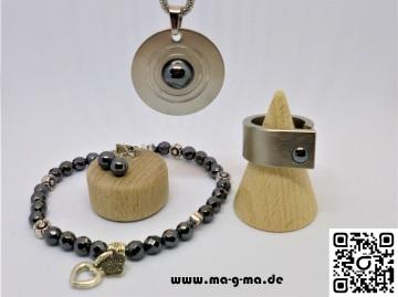 Schmuck Set Hämatit bestehend aus Ring, Armband, Ohrstecker Kette und Anhänger