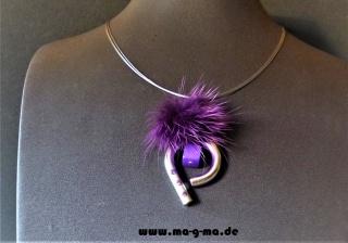 edle Designer Halskette mit Puschel und Zirkonia - ohne Versandkosten kaufen