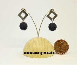 elegante Ohrstrecker mit Edelstahlplatte und Lavaperle 10 mm - kaufen