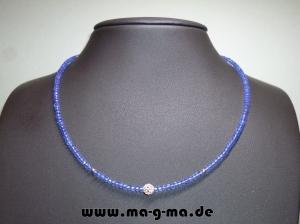 Facett-Glasperlen-Kette in Eisblau mit 925er Silberkugeln - ohne Versandkosten kaufen