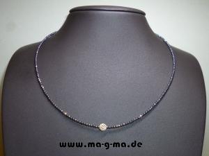 Hämatitperlenkette in Anthrazit mit 925er Silberkugeln - ohne Versandkosten kaufen
