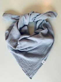 ☆HANNE_silbergrau kuscheliges Musselin Halstuch 120cm x 120cm  - Handarbeit kaufen