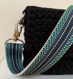 ☆EMIL_ türkis/blau verstellbarer Taschengurt mit Karabiner  - Handarbeit kaufen