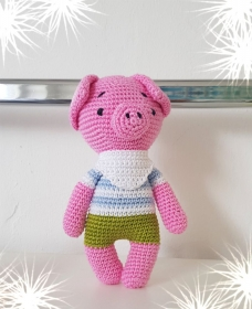 LHM Schweinchen SCHLAU Allergiker geeignete Befüllung Baumwolle - Handarbeit kaufen