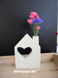 Vase,Holzvase,Haus mit Vase,Tischdeko,Blumenvase