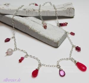 Halskette *Pink Bonbon* 925 Sterlingsilber Turmalin  - Handarbeit kaufen