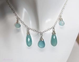 Halskette *Himmelblau* 925 Sterlingsilber Chalzedon Tropfen - Handarbeit kaufen