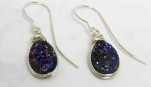 Große Ohrhänger mit Bergkristall Drusen handgefertigt kaufen - Handarbeit kaufen