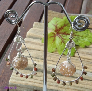 Große Unikat Ohrhänger Perle Boho handmade entdecken - Handarbeit kaufen