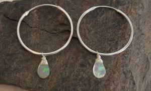 Creolen Ohrhänger Opal 925 Silber EDEL einkaufen - Handarbeit kaufen