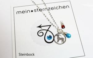 Sternzeichen Kette mit Geburtsstein Steinbock handgefertigt entdecken - Handarbeit kaufen