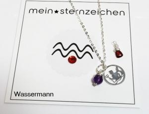 Glücksbringer Sternzeichen Kette mit Geburtsstein Wassermann handgefertigt entdecken  - Handarbeit kaufen