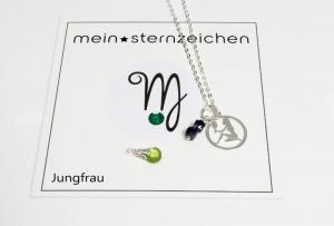Glücksbringer Sternzeichen Kette mit Geburtsstein Jungfrau handgefertigt entdecken   - Handarbeit kaufen