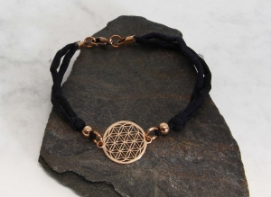 Armband Seide schwarz Blume des Lebens Handarbeit kaufen - Handarbeit kaufen