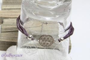 Armband Seide violett Blume des Lebens Handarbeit kaufen  - Handarbeit kaufen